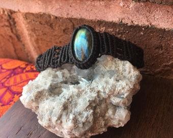 Elegant Handmade Adjustable Labradorite Macrame Bracelet Boho Tribal Healing Crystals Gemstones Reiki Energy  Chakra
