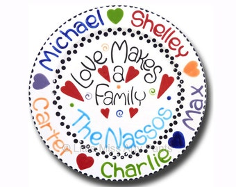 FREE Shipping - 11 inch Personalized Family Plate - Love Makes a Family Design
