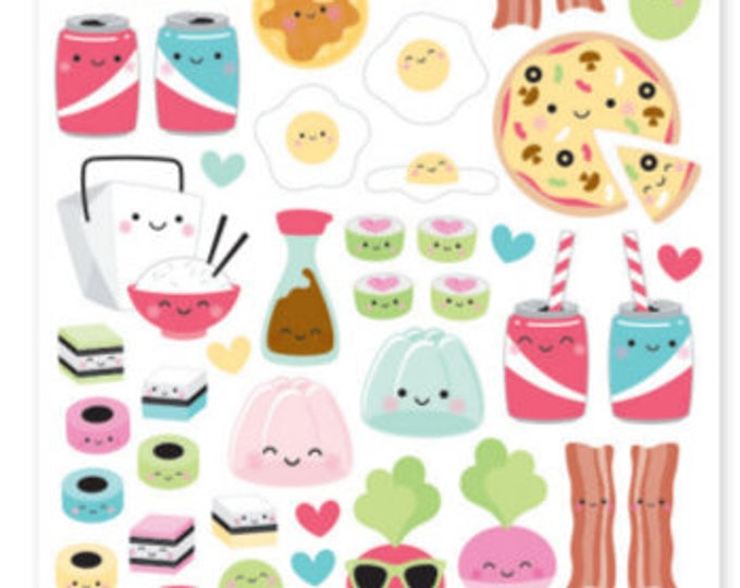 Doodlebug food icon stickers so punny