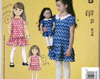 "McCall's M7233 Laura Ashley Size CL 6 7 8 Children's Girl's and 18"" inch Dolls Matching Drop Waist Dress Cut Sewing Pattern w bonus fabric"