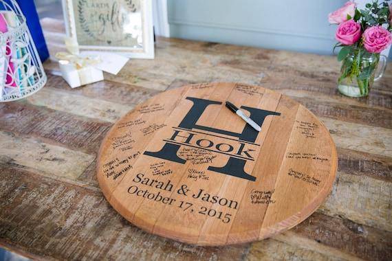 Wedding Guest Gift Ideas Unique: Bourbon Barrel Head Personalized Wedding Guest Book