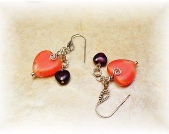 Red Heart Earrings, Swinging Heart Earrings, Red Hat Society Jewelry