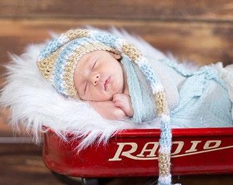 Crochet baby elf hat, newborn photo prop