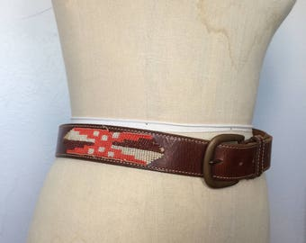 Vintage 1970s Leather Belt w/ Glass Bead Detail Size S