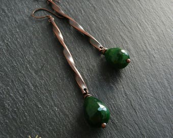 Minimal long earrings in antiqued copper and hard stones