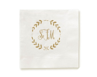 Foil pressed Personalized Napkins- Wreath Monogram, custom monogram, wedding monogram napkins, wedding napkins, party napkins, hostess gifts