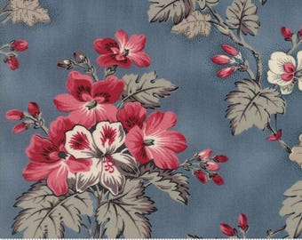 Sweet Blend Fabric - Moda Fabric - Half Yard - Floral Spring Sprouts Rain Light Blue Large Scale Print Laundry Basket Quilts 42290 16