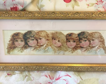 So Sweet ~7 Angelic Little Girls ~ Ornate Gold Frame ~matted print