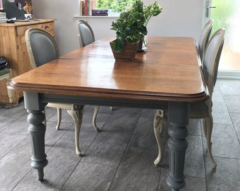 Antique Victorian Dining Table With Two Leaves & A Winder. Seats Up To 12 People. Grey Painted Legs.