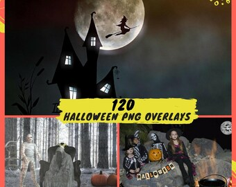 50% OFF 120 Halloween overlay set, Pumpkin overlays, Photoshop overlay, Halloween overlays, Digital backdrop, Scary backdrop, PNG
