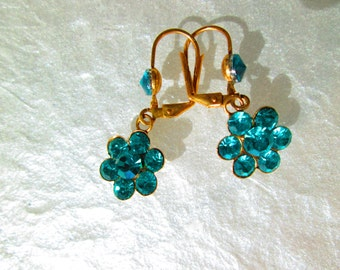 Vintage Earrings, Blue Faceted Glass, Gold Tone Ear Wires, 1960's Jewelry, Dangle