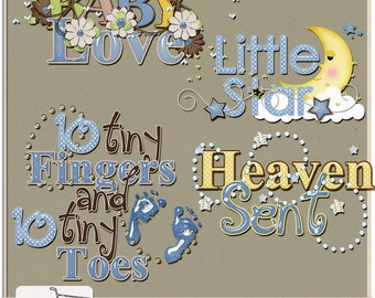 Baby Love Boy Digital Scrapbook Word Art