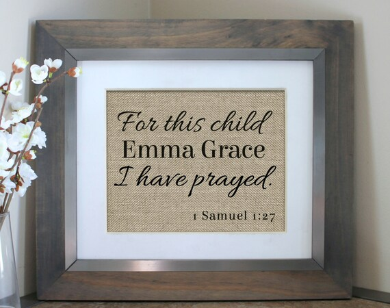 For This Child I Have Prayed Burlap Sign Personalized Baby