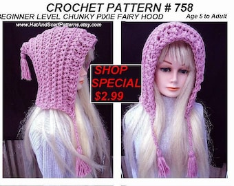 CROCHET PATTERN - Hat - Pink Pixie Hood with tassels -Easy Beginner level - age 5 to adult- patt. # 758 - Girls, Women-