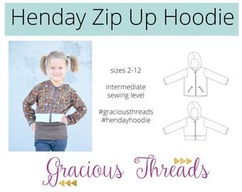 Henday Zip Up Hoodie pdf sewing pattern 2T-12