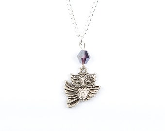 Beaded Owl Necklace | Purple Beaded Owl Necklace | Gift Boxed | Charm Necklace