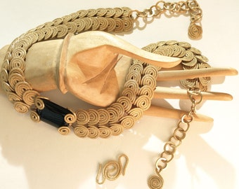 Solid Brass And Black Onyx  Egyptian Scroll Swirl Necklace Choker Handcrafted Metalwork Cleopatra