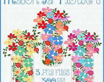 Canning Jars Clip Art, Canning Jars With Flowers Clip Art, Canning Jars Clipart, Canning Jars Graphics, Digital Scrapbooking Clip Art, Art