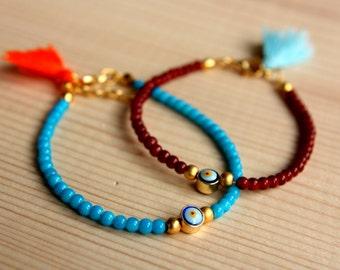 Evil Eye Bracelet, 2 pcs Beaded Evil Eye Bracelet, Friendship Evil Eye Bracelet, Tassel Bracelet, Mother and Daughter, Evil Eye Jewelry