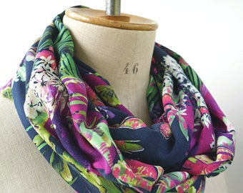 floral infinity scarf soft fabric, rayon fabric loop scarf with flowers, gift for her mother wife friend, christmas gift, scarf with flowers