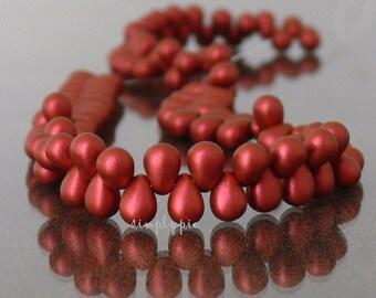 Matte Red Lava Teardrop Czech Glass Beads 4x6mm 50