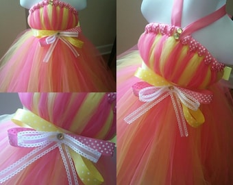 Pink and Yellow Tutu Dress With Polka Dot Ribbon