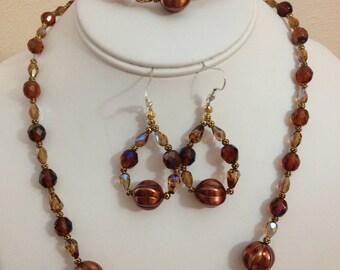 Brown Crystal Necklace Set