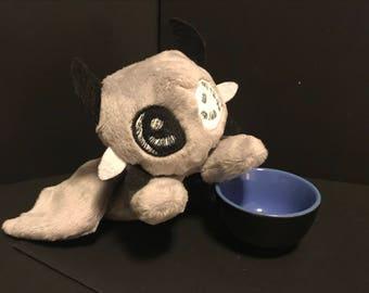 Monochrome Dragon Plushie, Stuffed Animal Plush Toy, Softie