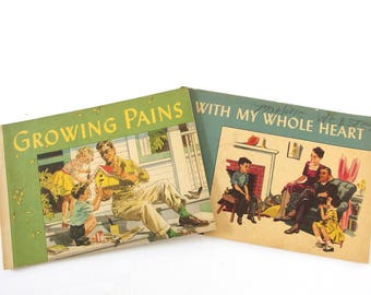 Vintage Mid Century Children's Books - Growing Pains and With My Whole Heart