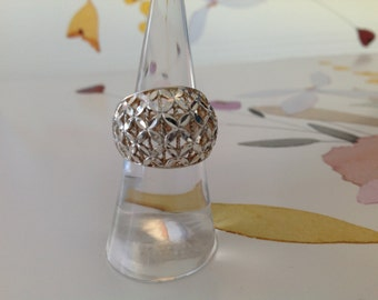 Flower Sterling Silver Dome Ring