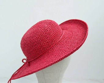 Red beach hat, summer hats, wide brim hat, floppy hat, wide brim straw hat, womens hats, sun hats for women, fedora hats, gift for party