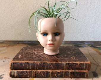 Vintage Porcelain Bisque Doll Head for Doll Making, doll air plant holder, Repair, Altered Art projects