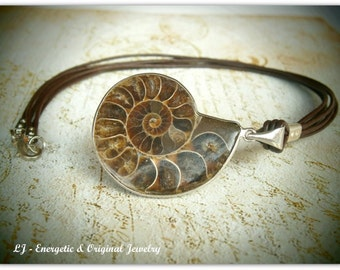 Ammonite, Ammonite pendant, Natural Ammonite, Ammonite fossil, Pyrite ammonite, Ammonite necklace, Leather necklace, Woodland jewelry, Brown