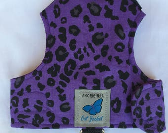 "Escape proof when sized and fitted correctly Purple leopard print ""Butterfly Cat Jackets"" walking harness, jacket, holster, vest"