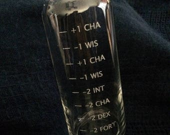 RPG Drinking Stats Engraved Beer Glass - Great for D&D or Pathfinder Fans