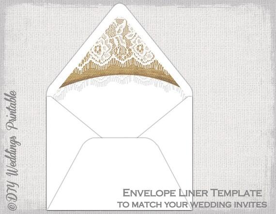 Rustic Wedding Envelope Liner Template Burlap