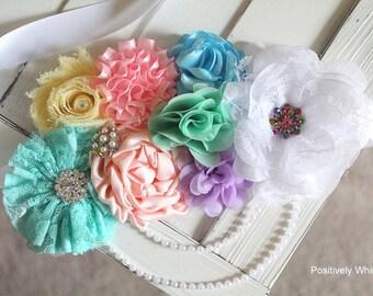 Rainbow Maternity Sash, Gender Reveal Maternity Sash, Rainbow Baby Shower, RTS, White, Pink, Peach, Aqua, Yellow, Blue, Lavender, Mint
