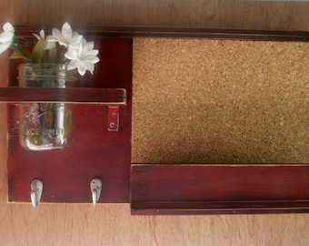 Wood Cool Black Cherry Wall Shelf Cork Bulletin Board Message Center With Letter Holder