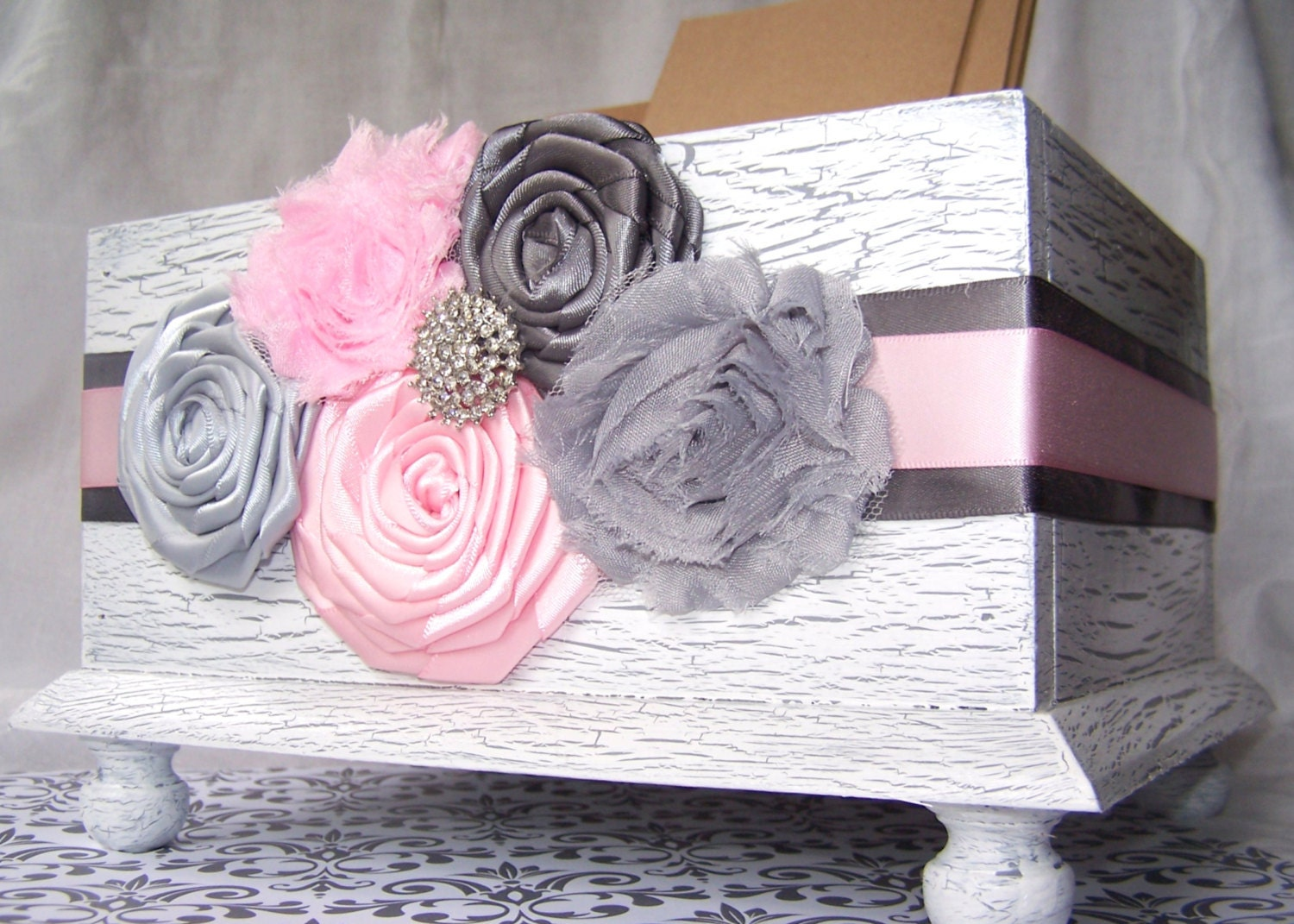 Wedding Card BOX Light Pink and Grey White Card Box Rustic