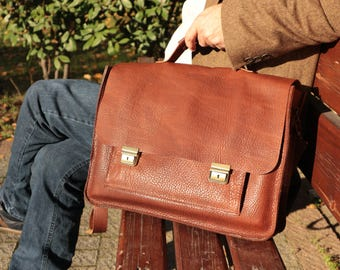 Leather Briefcase,Leather Briefcase men,mens leather briefcase,Leather Satchel,Laptop Bag,Brown Leather Messsenger Bag for men and women,