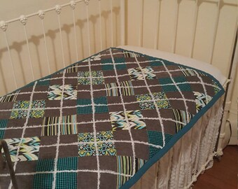 Modern Teal Argyle baby quilt