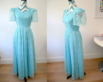 Vintage 1950s Lace Prom Dress Aqua Long Turquoise Lace Dress with Short Sleeves  - Princess - Fairy Tale - Mad Men - Small Medium