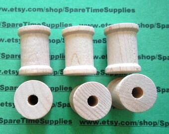 """Wood Spools  - 1-3/16"""" tall x 7/8"""" wide w/ 1/4""""hole - 12 pcs - #SP8000WW12"""