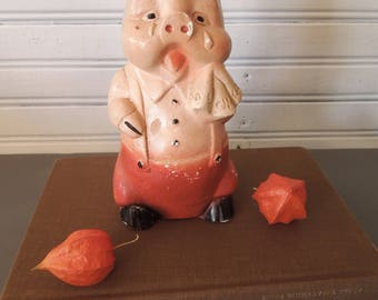 Vintage Chalkware Piggy Bank - Crying Pig Figurine Statue Figure - Old Coin Bank - Carnival Prize