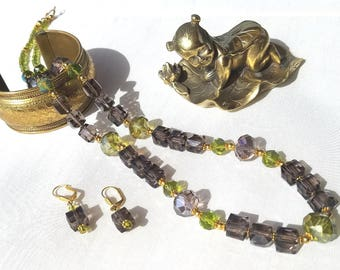 Lovely smoky faceted cube and green iridescent beaded necklace and earrings set