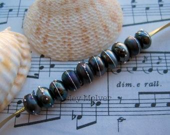 Black Shimmer - 10 x Handmade Lampworked Metallic Black Pure Silver Trailed Spacer Beads