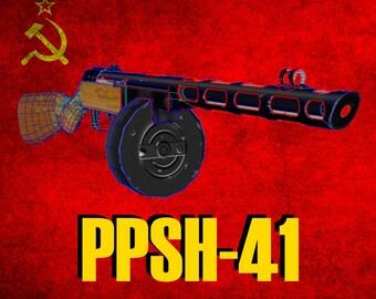 Machine Gun PPSH-41 Paper/Low Poly/Papercraft/DIY/Weapons/WW2/History/Pepakura/Pattern