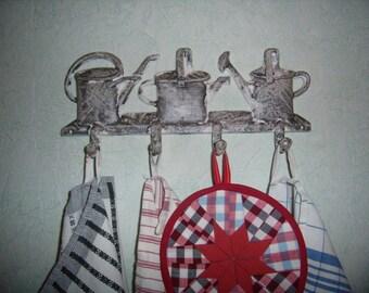 Tea towels, towel hooks, rail, cast, 4 hooks, kitchen decor, bathroom, rustic, french vintage.