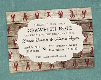 Printable Digital File - Crawfish Boil Invitation - Customizable - Wood, Bargeboard, Engagement Party, Birthday, Shower, Crayfish, Seafood