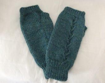 Fingerless Gloves — Tipless Finger Gloves — Knit Fingerless Gloves — Fingerless Mittens — Teal-Tweed Fingerless Gloves — Lace-Ribbed Gloves